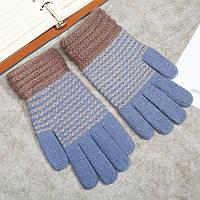 Зимние женские перчатки голубые в полоску опт, фото 1