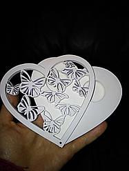 """Деревянная коробочка для свадебных колец, белая, """"Бабочки"""""""