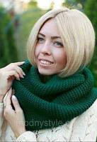Снуд женский вязанный зеленый  010, фото 1