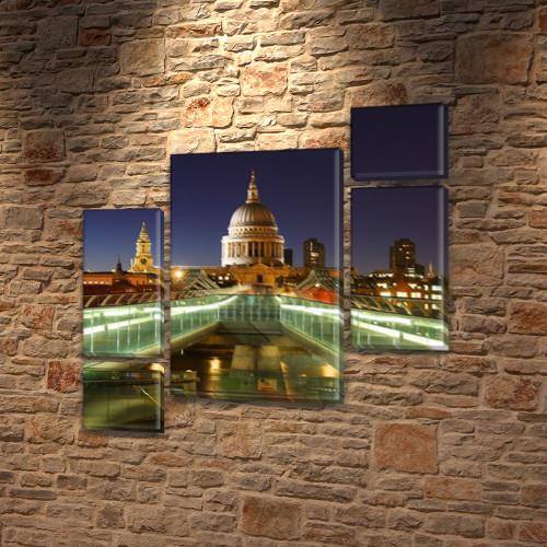 Модульная картина Белый дом на Холсте, 120x130 см, (60x30-2/25х30-2/95x65)
