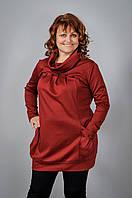 Туника женская больших размеров с длинным рукавом без воротника оптом от производителя, фото 1