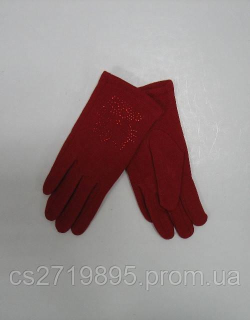 Перчатки детские КОРОЛЕВА 77 с начесом и стразами   (10шт)