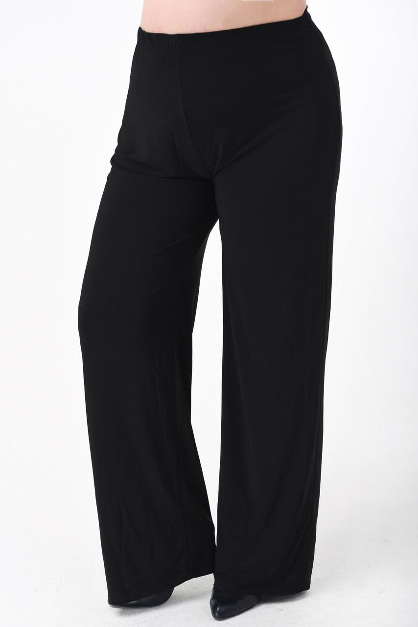 4b6658cce96 Купить Женские брюки больших размеров (батал) черные трикотажные ...