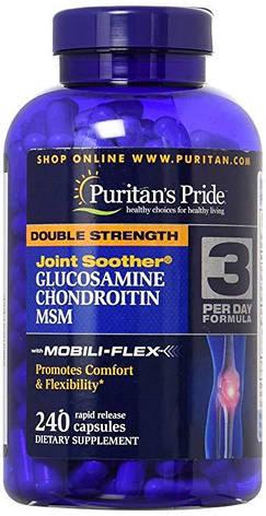 Для суставов Glucosamine Chondroitin MSM Double Strength Puritan's Pride (240таб), фото 2