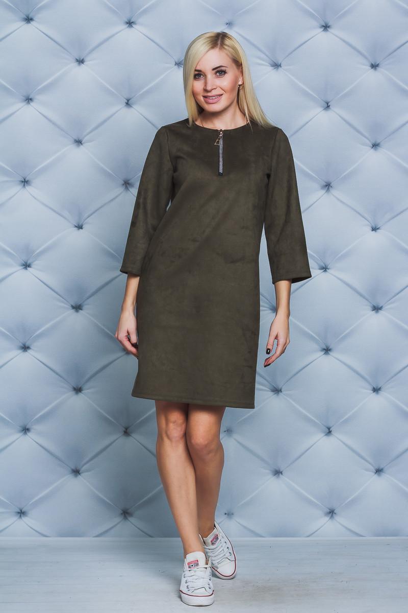 Платье женское замшевое олива
