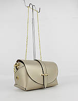 Кожаная мини-сумочка Borse in pelle 323901-8 светло-золотистая, Италия, фото 1