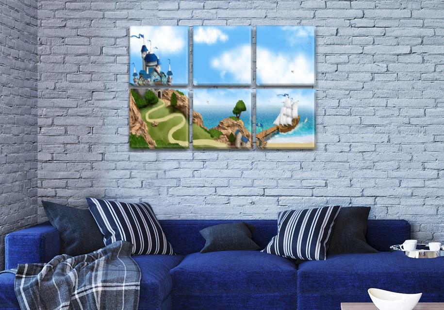 Картины для интерьера детского, 72x110 см, (35x35-6)