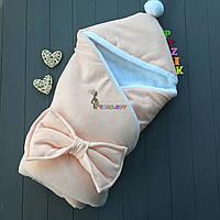 Конверт-одеяло на махре с капюшоном и бубончиком, персиковый