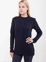 Теплый женский свитер вязка узорная 44-50