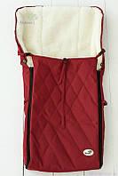Конверт на овчине для коляски-трансформера или санок, красный