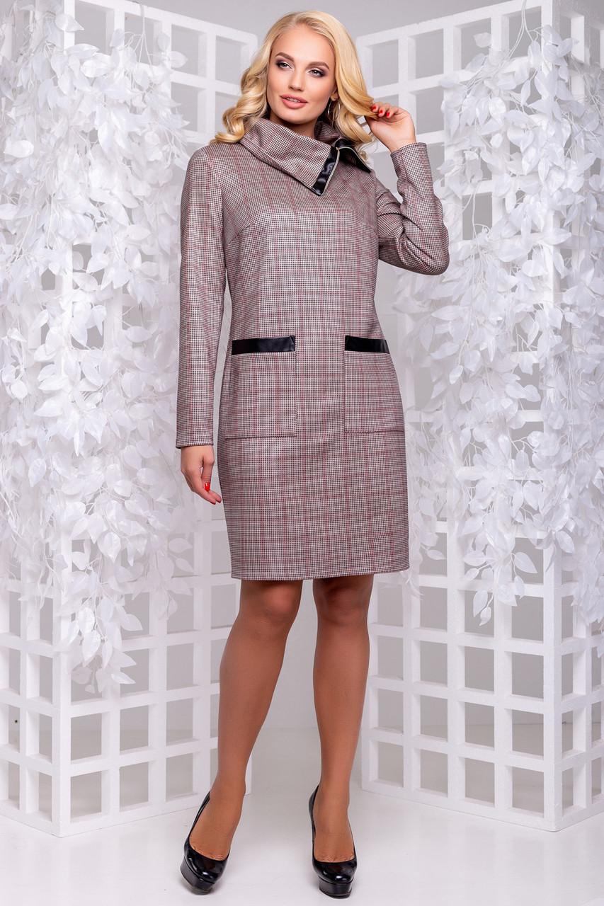 Повседневное платье большого размера из замши коричневая клетка