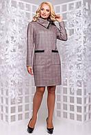 Женское платье, размеры от 50 до 54, замша, коричневая клетка, повседневное, приталенное