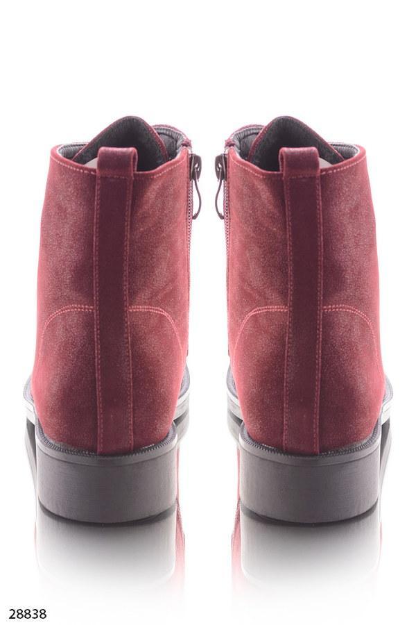 ... Ботинки женские бордовые- марсала на шнурках эко-замш весна-осень, фото  5 3a8fefb9dde