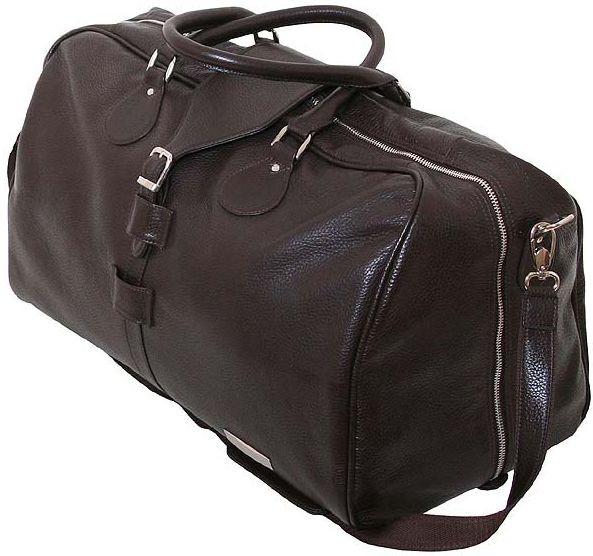Кожаная сумка-саквояж  дорожная 45 л. VIP COLLECTION, арт. 36490B flat коричневая
