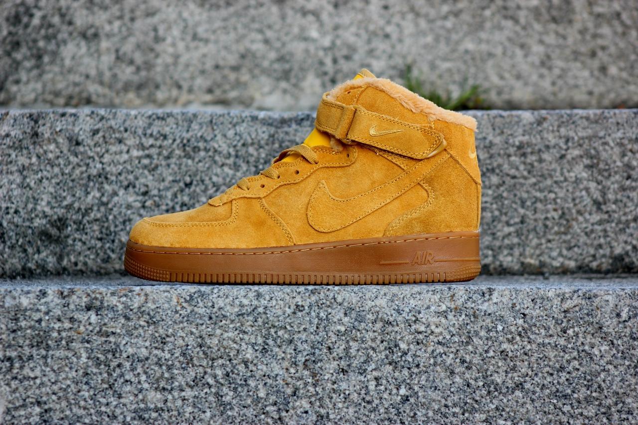 Мужские кроссовки Nike Air Force Winter желтые топ реплика