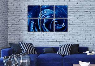 Модульная картина Синяя роза в росе  на Холсте, 72x110 см, (35x35-6), фото 3