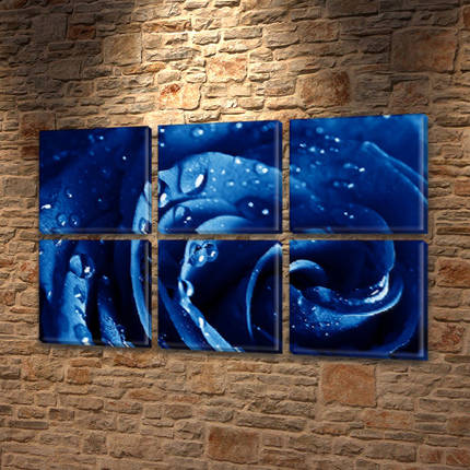 Модульная картина Синяя роза в росе  на Холсте, 72x110 см, (35x35-6), фото 2