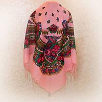 Платок С Бахромой В Украинском Стиле Розовый Большой