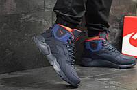 Зимние мужские кроссовки Nike Huarache 6510 Темно синий с красным, фото 1