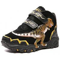 06d074394 Светящиеся зимние замшевые 3D ботинки для детей «Dinosoles» T-REX black