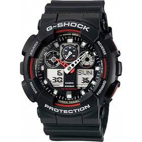 Наручные часы в стиле Casio G-Shock GA-100 Black-Red с защитой от влаги
