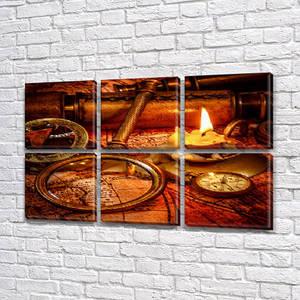 Модульные картины в спальню на Холсте, 72x110 см, (35x35-6)