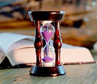 Песочные часы 20 секунд в круглой деревянной подставке