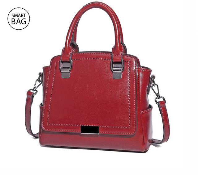 Женская кожаная сумка на плечо | красная