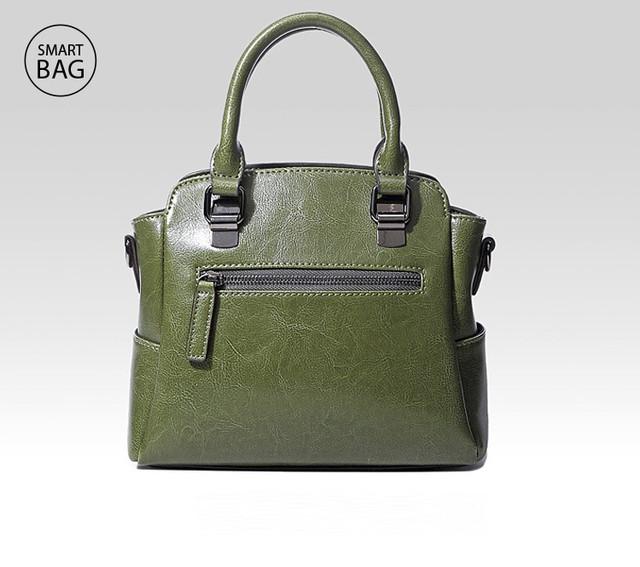 Женская кожаная сумка на плечо | зеленая