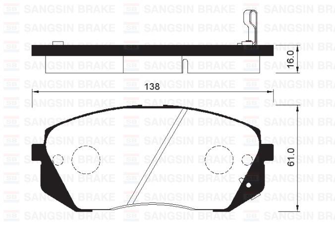 HI-Q sp1196 Тормозные колодки (передние) HYNDAI 581012SA70, KIA 581011DE00