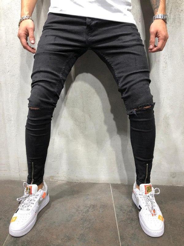 😝 Джинсы - Черные рваные мужские джинсы В90978