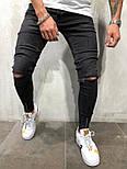 😝 Джинсы - Черные рваные мужские джинсы В90978, фото 2