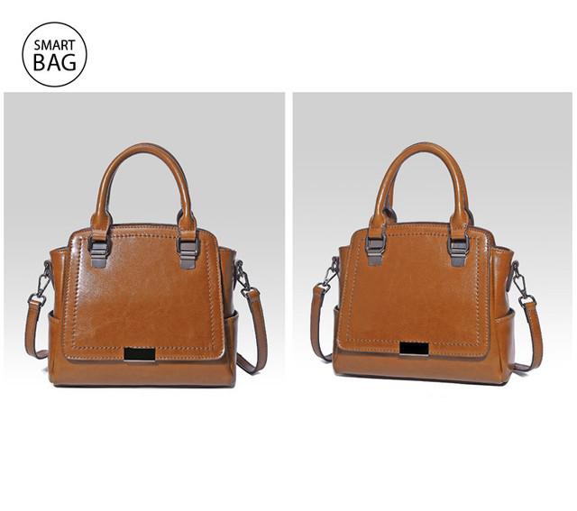 Женская кожаная сумка на плечо | коричневая