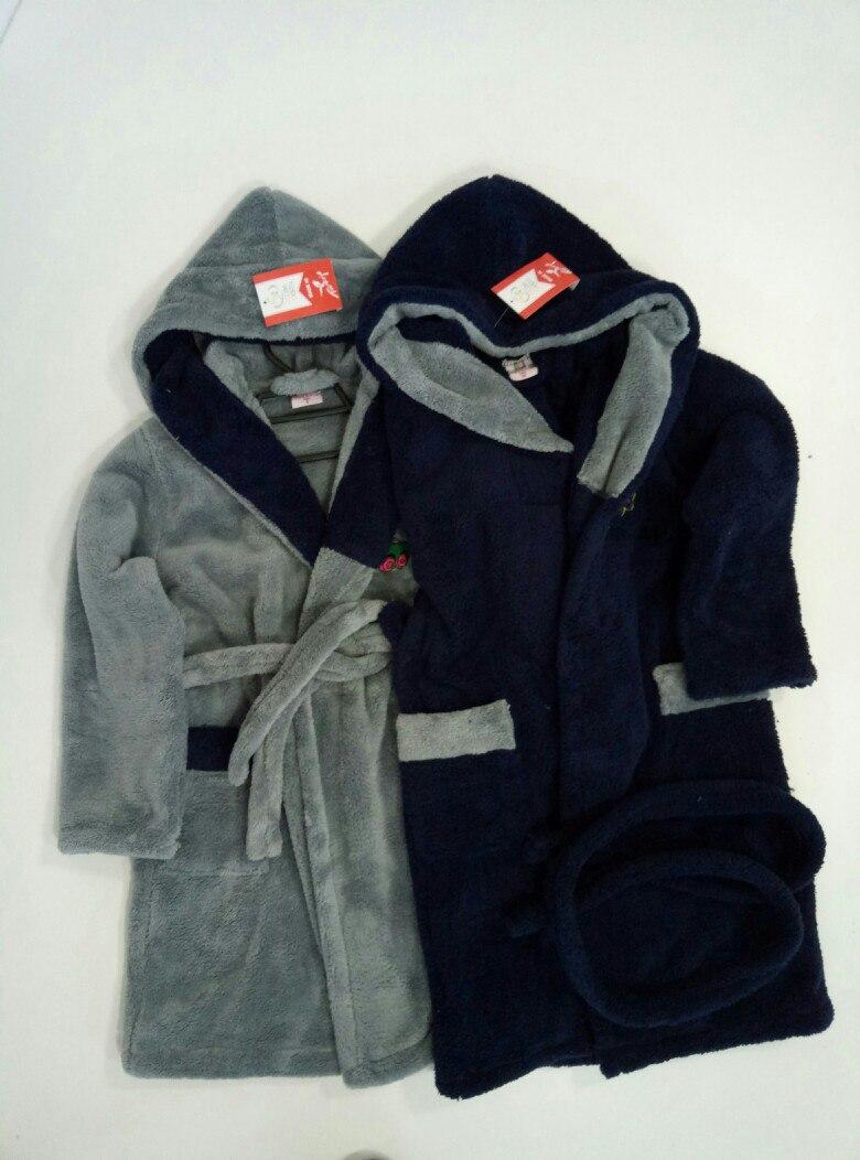 eaa177432c5a Детский махровый халат для мальчиков (серый+син) - Интернет-магазин