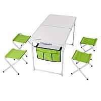 Раскладной алюминиевый стол РС-415/4 КЕМПИНГ(ТА-21407+FS21) 4стульчика, фото 1