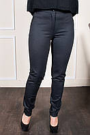 Женские брюки на манжетах из плотной зимней ткани темно-серого цвета, фото 1