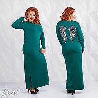 Длинное теплое трикотажное платье с декром из пайетки. 4 цвета!, фото 1
