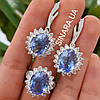 Изумительный серебряный комплект - серьги и кольцо с крупным голубым кварцем