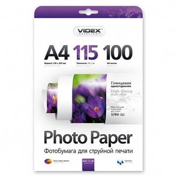 Фотобумага А4 Videx HGA4 115/100 глянец