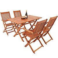 Набор садовой мебели, деревянный стол + 4 стула