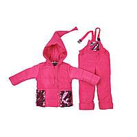 Детский зимний комбинезон Гномик с пайетками 1-2, 2-3,3-4 года малина, фото 1