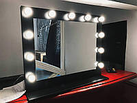 Зеркало визажиста, зеркало с полкой 1000х800мм, на ДСП. Зеркало с подсветкой. Гримерное зеркало с лампочками.