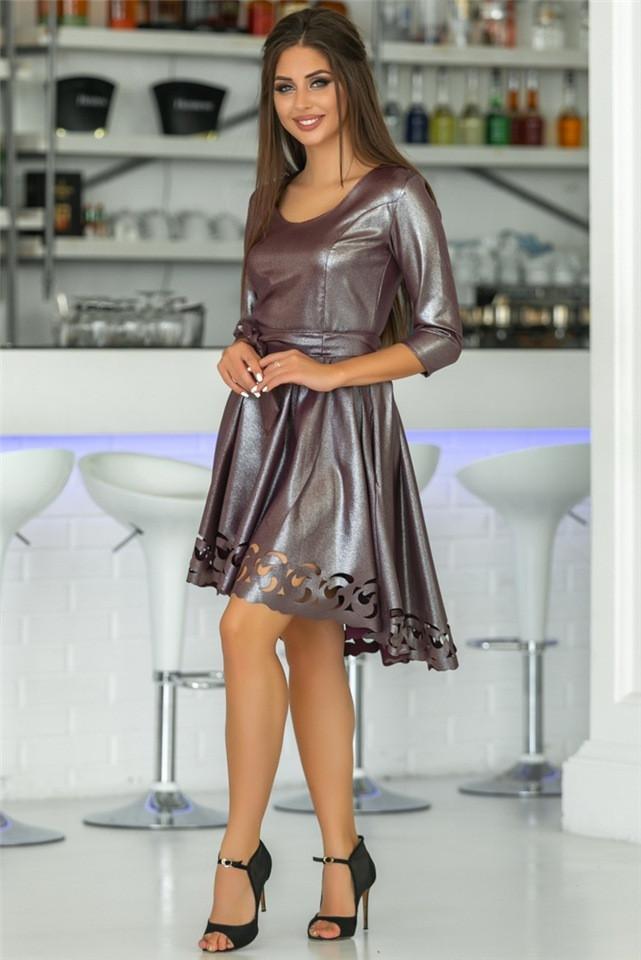Женское Платье (141)669. (5 цветов) Ткань: креп с блестящим напылением + перфорация.  Размеры: 44 - 54.