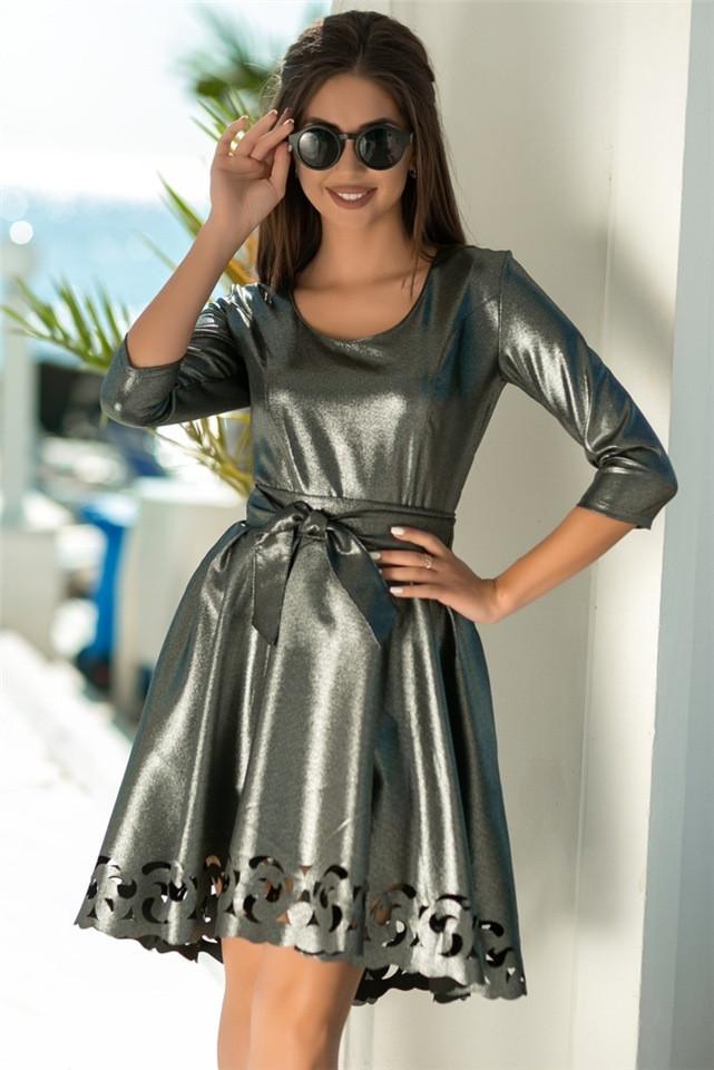 Женское Платье, цвет - Чёрный (141)669-2. (5 цветов) Ткань: креп с блестящим напылением + перфорация. Размеры: 44 - 54.