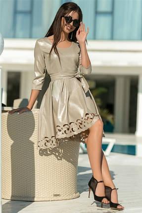 Женское Платье, цвет - Бежевый (141)669-3. (5 цветов) Ткань: креп с блестящим напылением + перфорация. Размеры: 44 - 54., фото 2