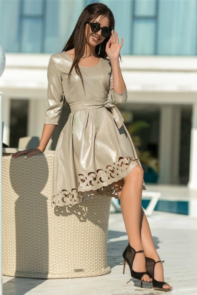 Женское Платье, цвет - Бежевый (141)669-3. (5 цветов) Ткань: креп с блестящим напылением + перфорация. Размеры: 44 - 54.