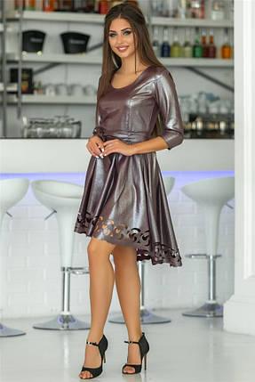 Женское Платье, цвет - Марсала (141)669-5. (5 цветов) Ткань: креп с блестящим напылением + перфорация. Размеры: 44 - 54., фото 2