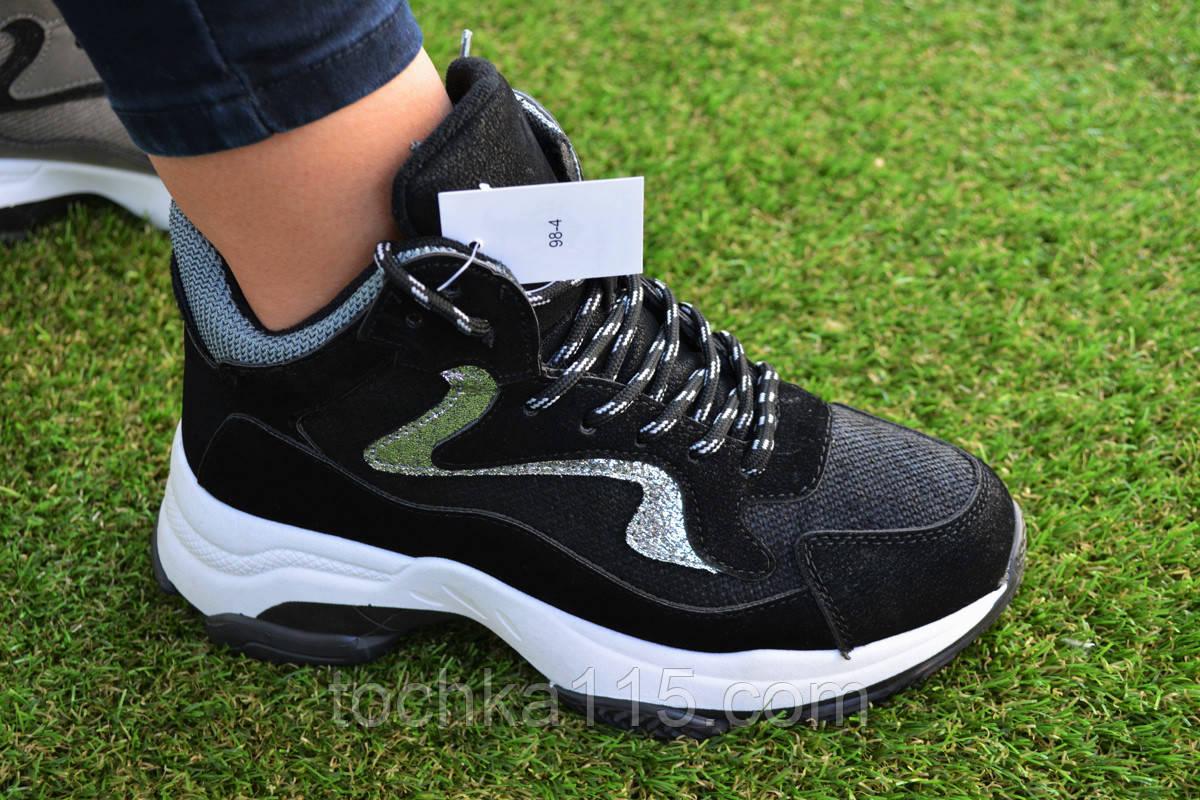 Женские демисезонные высокие кроссовки Fila Black черные, копия