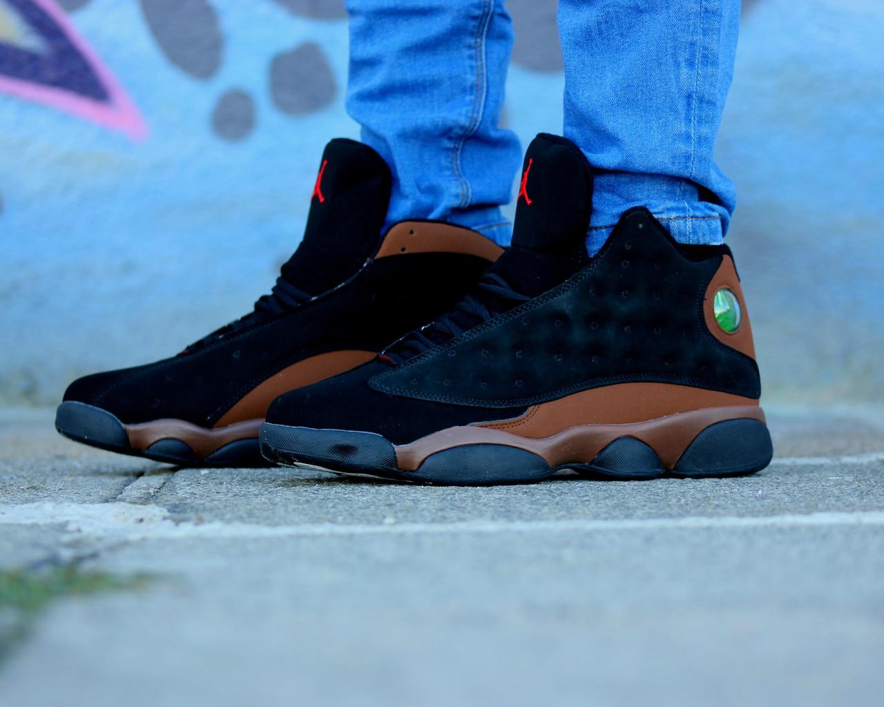 Мужские кроссовки Nike Air Jordan 13 Retro черно-коричневые топ реплика -  Интернет-магазин ca8b69e2692