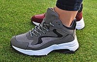Женские демисезонные высокие кроссовки Fila Gray серые, копия, фото 1